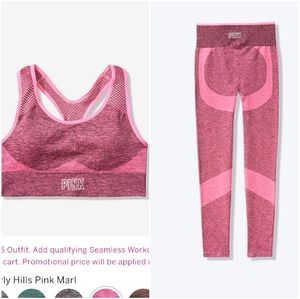 Pink Seamless tights and sport bra